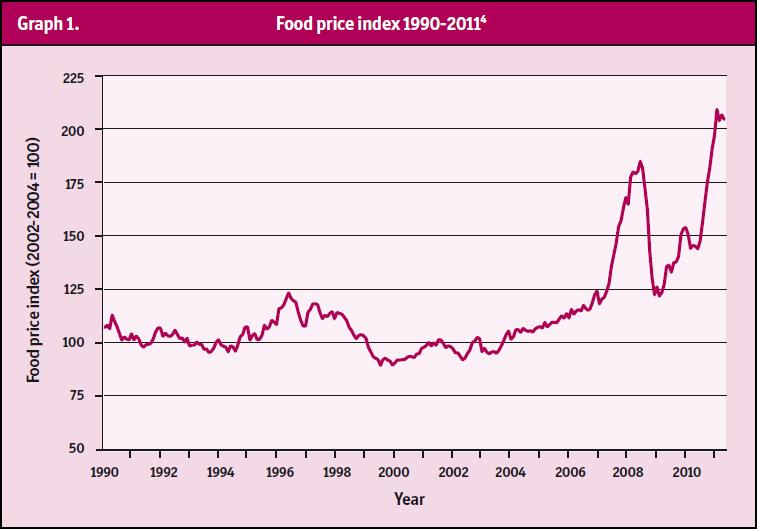 Food Pice Index 1990-2011 (source WDM-Broken Markets)