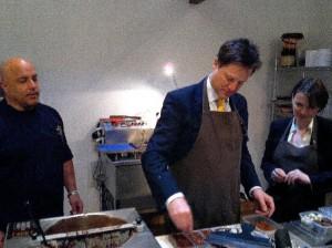 Nick Clegg making chocolate