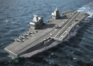 Computer graphic of the Queen Elizabeth Class aircraft carrier showing the vessel without a ski ramp and with folding wing Joint Combat Aircraft on her deck.