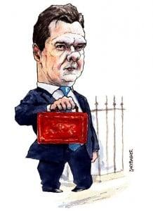 George Osborne budget day cartoon - GaryBarker.co.uk