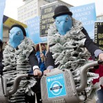 Campaigners from the World Development Movement protest at BarclaysâÃÂàAGM tomorrow, exposing BarclaysâÃÂàrole in fuelling global hunger by betting on food prices. Two suited, blue masked Barclays âÃÂÃÂeaglesâÃÂàon Barclays bikes will join protestors holding placards reading, âÃÂÃÂBarclays banks on hungerâÃÂÃÂ. Royal Festival Hall, South Bank, London.