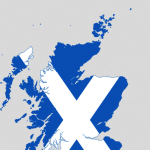 Map of Scotland overlaid by Scottish flag