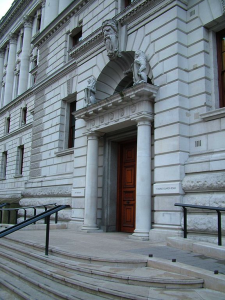 East Entrance HM Treasury by JamesF via Wikimedia Commons