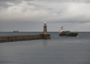 Cargo Vessel Enters River Tyne by Roger Cornfoot