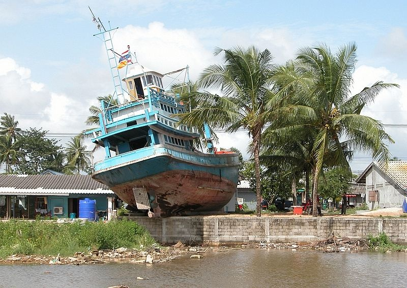 A ship lifted onshore by the 2004 Boxing day Tsunami at Phuket Island by Stephen Kennedy from Atlanta USA