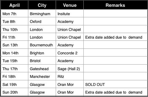 SEBextor tour dates