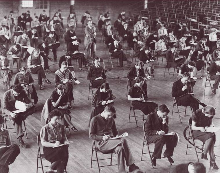Hamline University students take a final during the 1930s