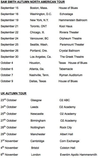 Sam smith tour dates