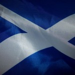 Flag of Scotland by Rain Dropsfalling