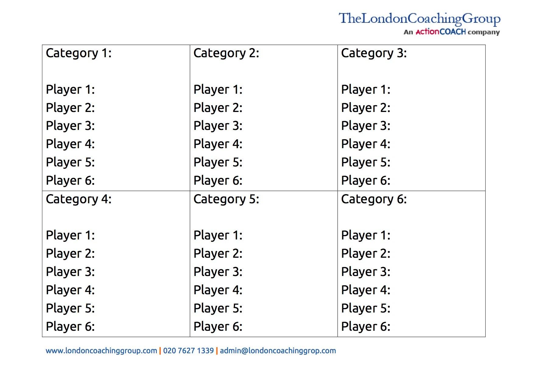 Coaching sheet