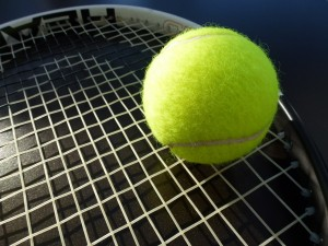 Tennis racket and ball (PD)