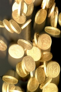 Falling GBP coins