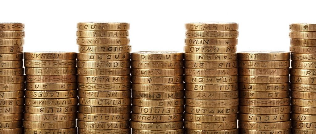 GBP Coins in row (PD)