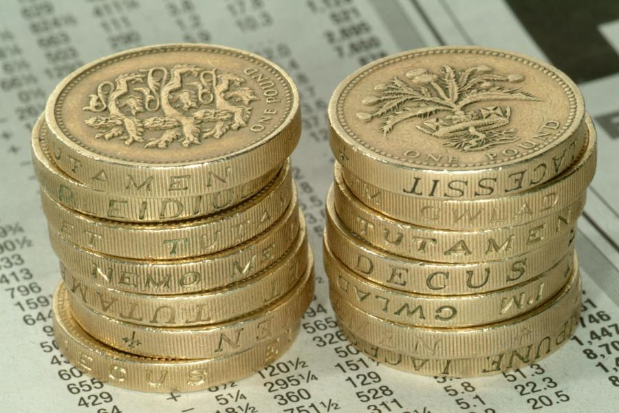 GBP Coins on paper