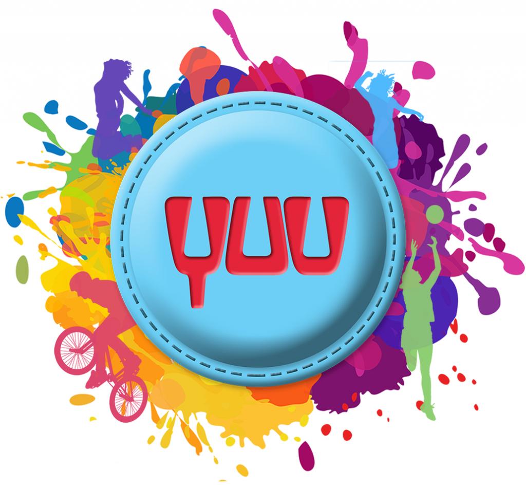 YUU logo with splat