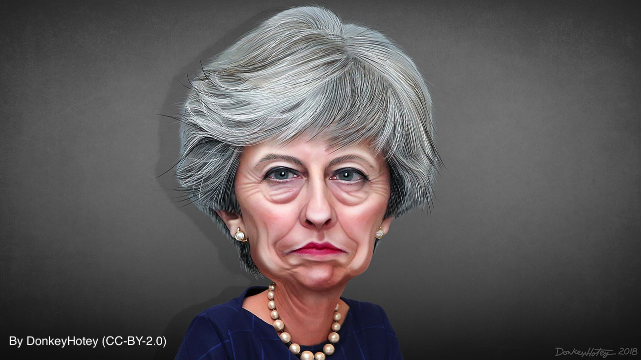Theresa May caricature by DonkeyHotey (CC-BY-2.0)